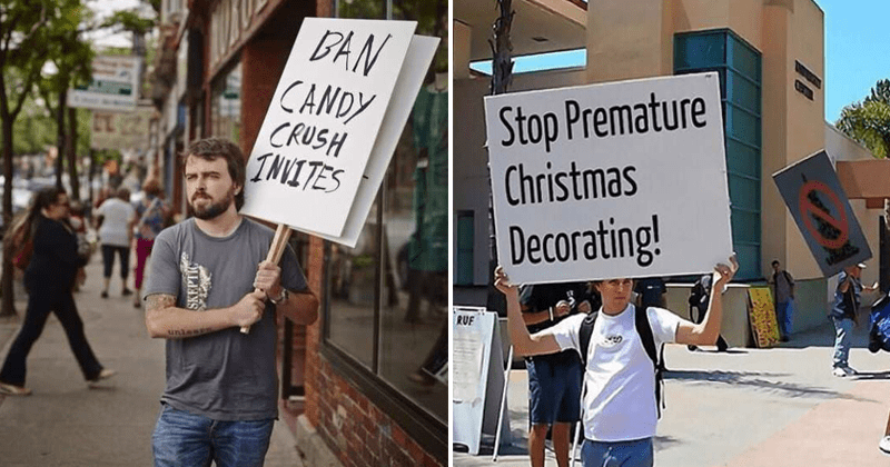 Funny protest signs, candy crush