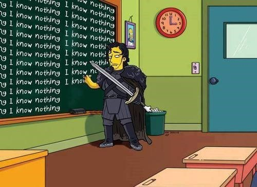 you know nothing Jon Snow Game of Thrones simpsons - 7795526656