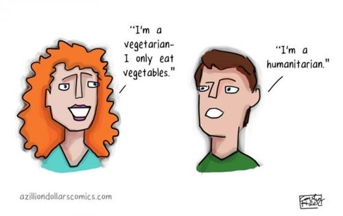 pun word play vegetarian humanitarian - 7795531776