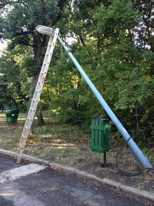 ladder,funny,lamppost,there I fixed it,g rated