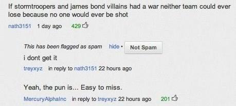 star wars,youtube,james bond,puns,youtube comments,007,stormtrooper