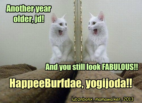 Another year older, jd! And you still look FABULOUS!! HappeeBurfdae, yogijoda!! lubznbonx, mamawalker, 2013