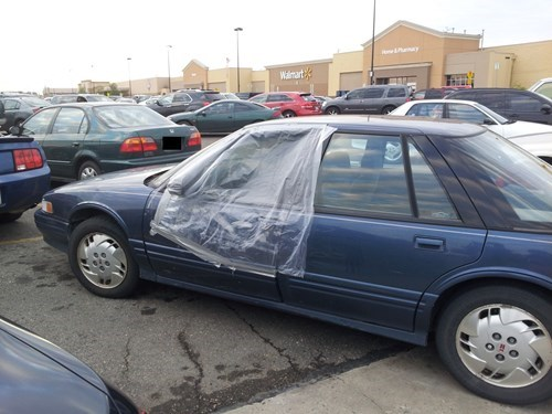plastic sheeting,cars,duct tape,funny,there I fixed it