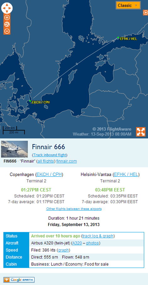 air travel finnair helsinki Finland friday the 13th flight 666 to HEL flights flying