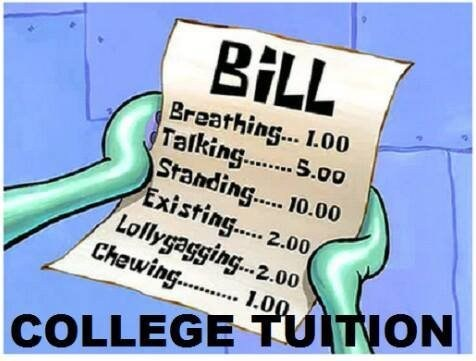 SpongeBob SquarePants expensive tuition funny college