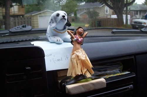 cars,wood,hula doll,funny,tape,there I fixed it