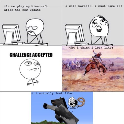 Challenge Accepted minecraft cowboy horses - 7799308544