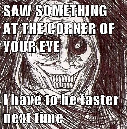 SAW SOMETHING AT THE CORNER OF YOUR EYE I have to be faster next time