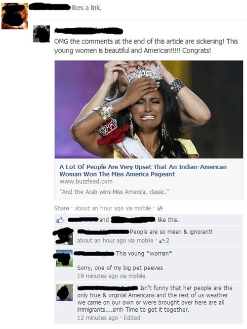 racism,miss america,indian americans,indians,nina davuluri,native americans,failbook