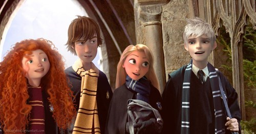 crossover,brave,disney,Harry Potter,tangled,Fan Art,How to train your dragon,jack frost