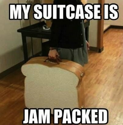 pun suitcase sandwich bread luggage jam