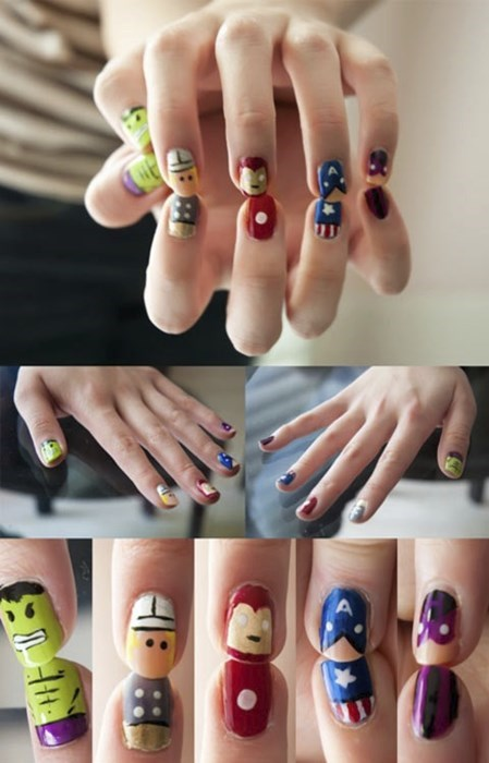 nails,geek,superheroes,nail art