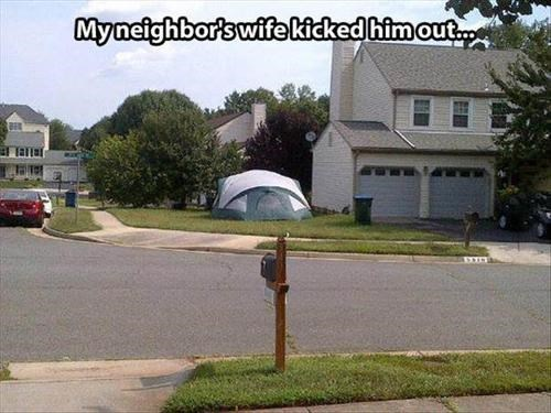 marriage,tent,dog house,divorce,camping,funny