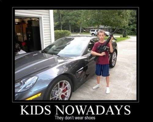 guns,shoes,kids,cars,funny