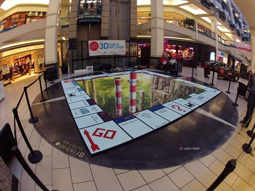 Street Art monopoly chalk art perspective funny illusion - 7803890944
