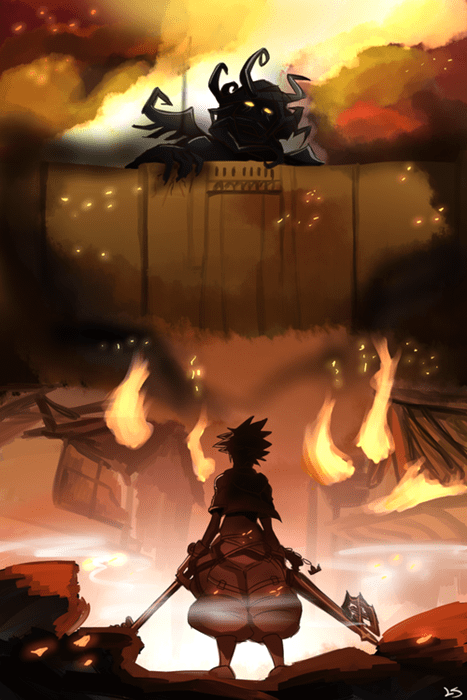 kingdom hearts,art,attack on titan