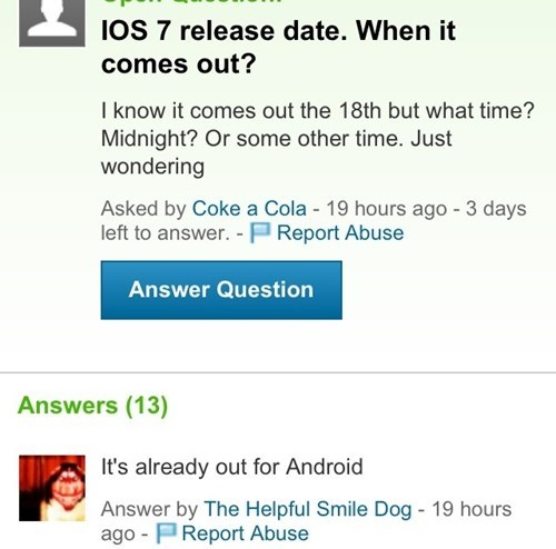 Funny Yahoo Answers about ios.