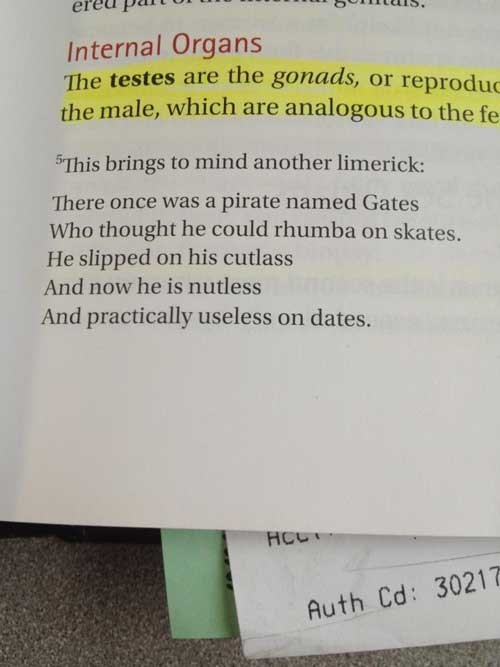dude parts,limerick,textbook,funny,dating