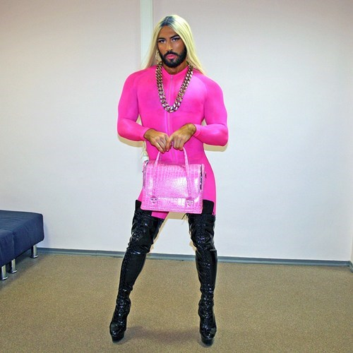 fashion beard gender bender dress