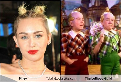 wizard of oz,the lollipop guild,totally looks like,miley cyrus,funny