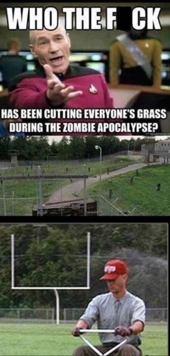 Forrest Gump,lawn,picard meme,The Walking Dead