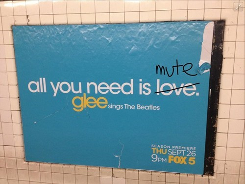 beatles,All you need is love,glee,monday thru friday,g rated