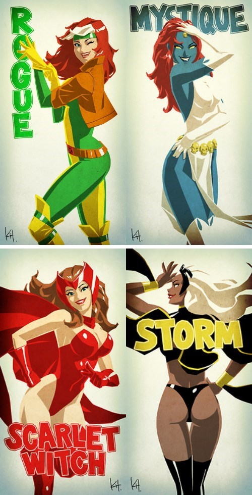 scarlet witch,rogue,storm,marvel,mystique,pinup