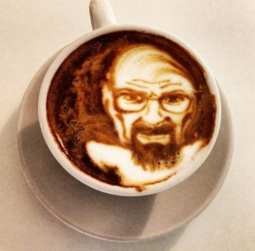 breaking bad,latte art,funny,coffee art