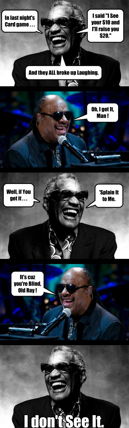 stevie wonder,puns,cards,ray charles,funny