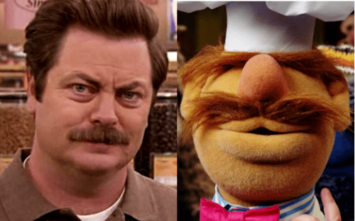 Ron Swanson totally looks likes like The Muppet Chef