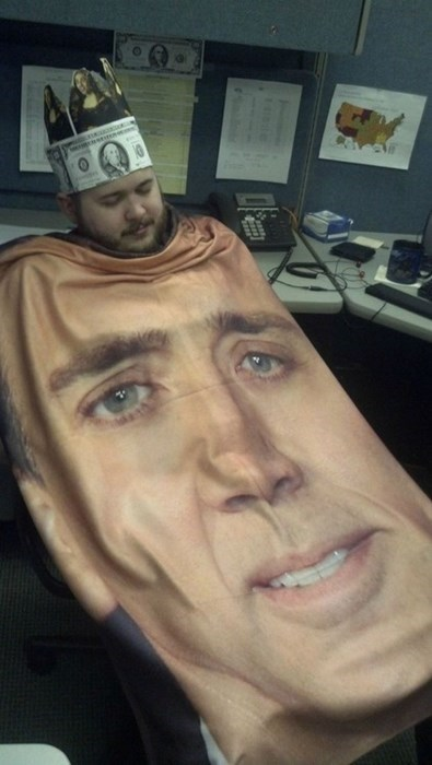 caged,office pranks,nicolas cage