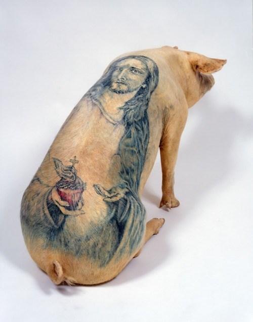 wtf jesus christ tattoos pig - 7812908544