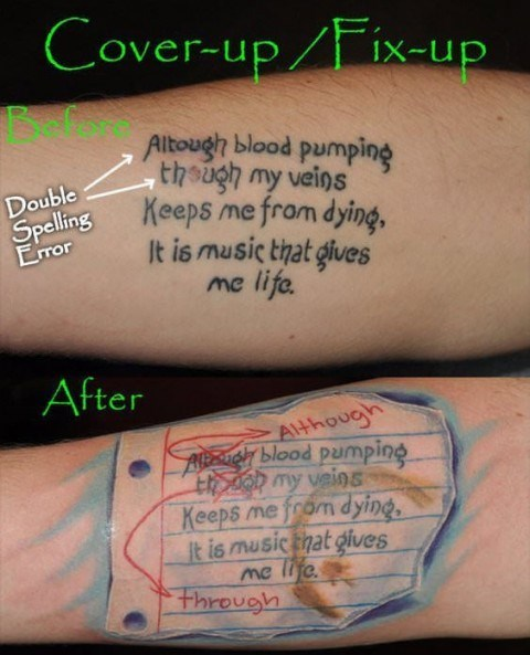 cover up,papers,misspellings,tattoos,funny,g rated,Ugliest Tattoos