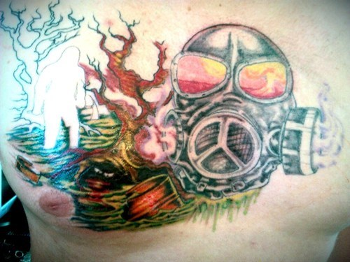 gas masks tattoos chest piece funny - 7815774464