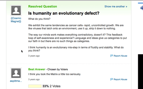 the matrix,yahoo answers