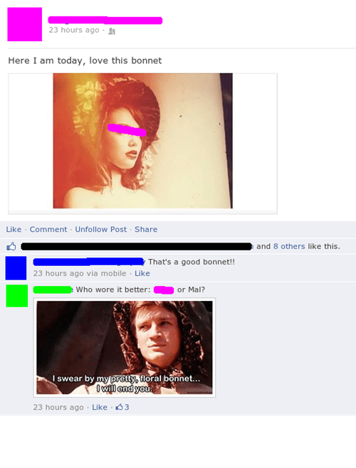 nathan fillion,Firefly,bonnets,Mal Reynolds,failbook,g rated