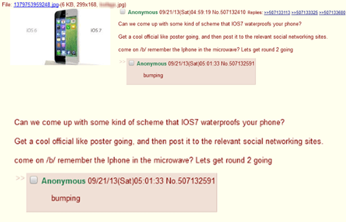 Anonymous request on 4chan to come up with some way to convince people that iOS 7 will waterproof their iPhone.