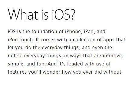 What is iOS? - this was added to make it look like legitimate Apple materials.