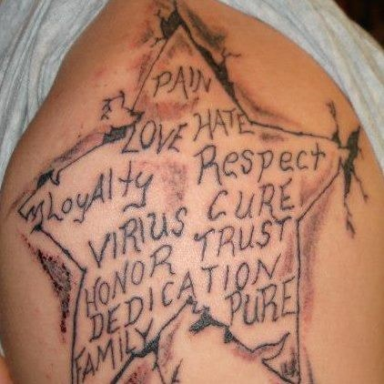 text tattoos misspelling stars funny - 7817807360