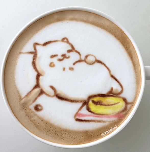 Cats cute coffee Japan latte art neko atsume