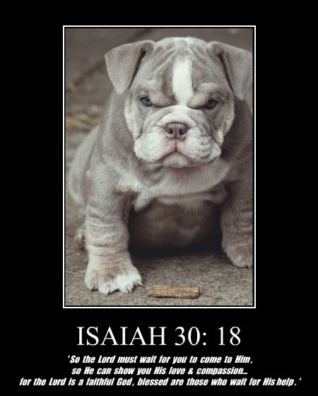 ISAIAH 30: 18 ' So the Lord must wait for you to come to Him , so He can show you His love & compassion... for the Lord is a faithful God , blessed are those who wait for His help . '