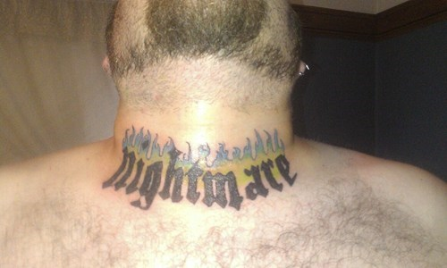 text tattoos nightmare necks funny