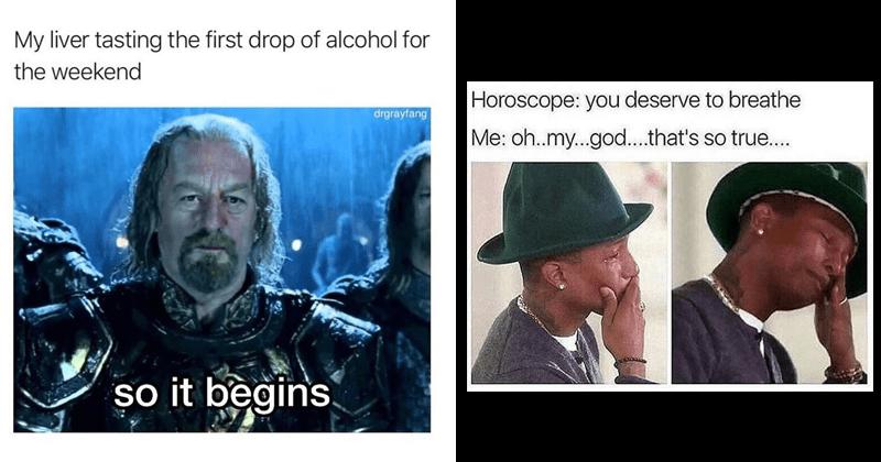 Funny random memes, tuesday memes, astrology, lavender, the simpsons.