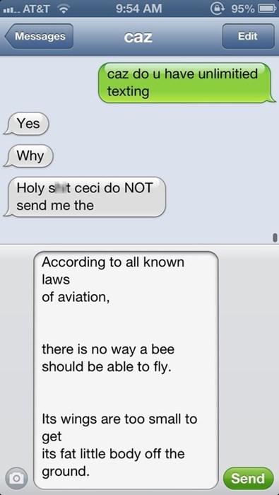 bee movie texting - 7819357952