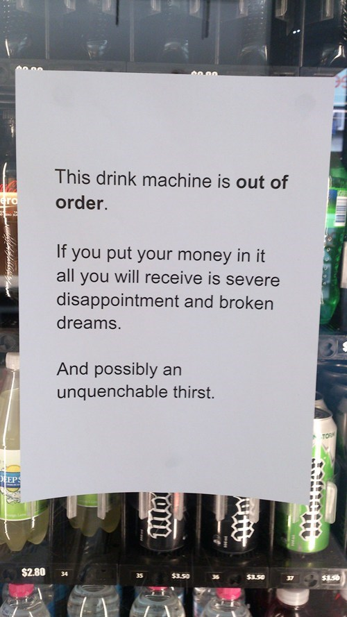 vending machines signs funny there I fixed it g rated - 7820450560