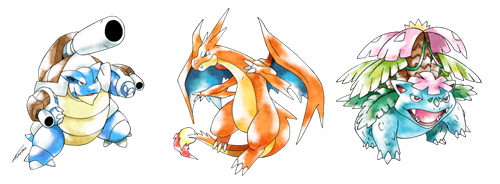 Kanto Starter Mega Evolutions Done in the Classic Sugimori Style