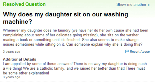 yahoo answers,washing machines