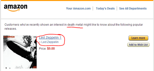 led zeppelin,amazon,death metal