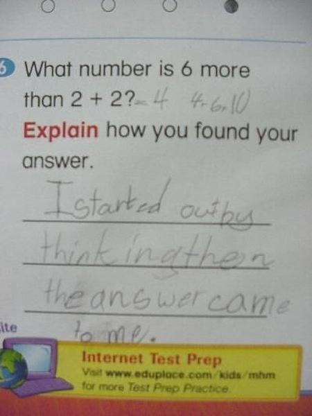 Text - What number is 6 more than 2 2? 4 0 Explain how you found your answer. Istarted outhe think inathen the anewer came to me Cite Internet Test Prep Visit www.eduplace.com.kids/mhm for more Test Prep Practice