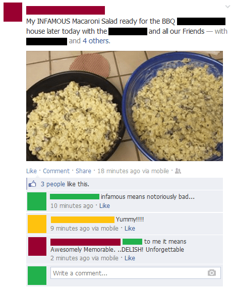 infamous,food,macaroni salad